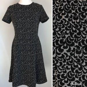 Loft Black Grey Brocade Short Sleeve Skater Dress